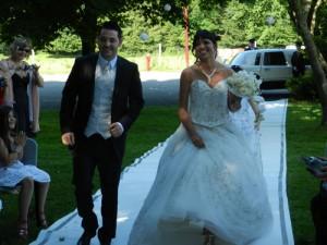 mariage arrivé des mariés